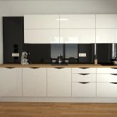 Black and white modern kitchen in high gloss